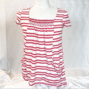 Meadow Rue Anthropologie white and red striped tee